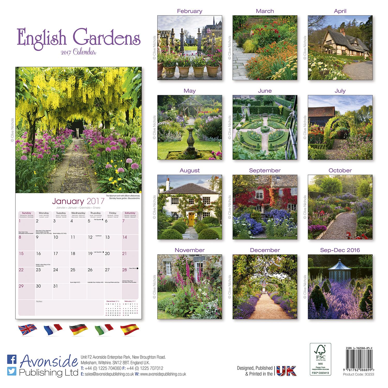English gardens calendar 2017 pet prints inc for Gardening wall planner