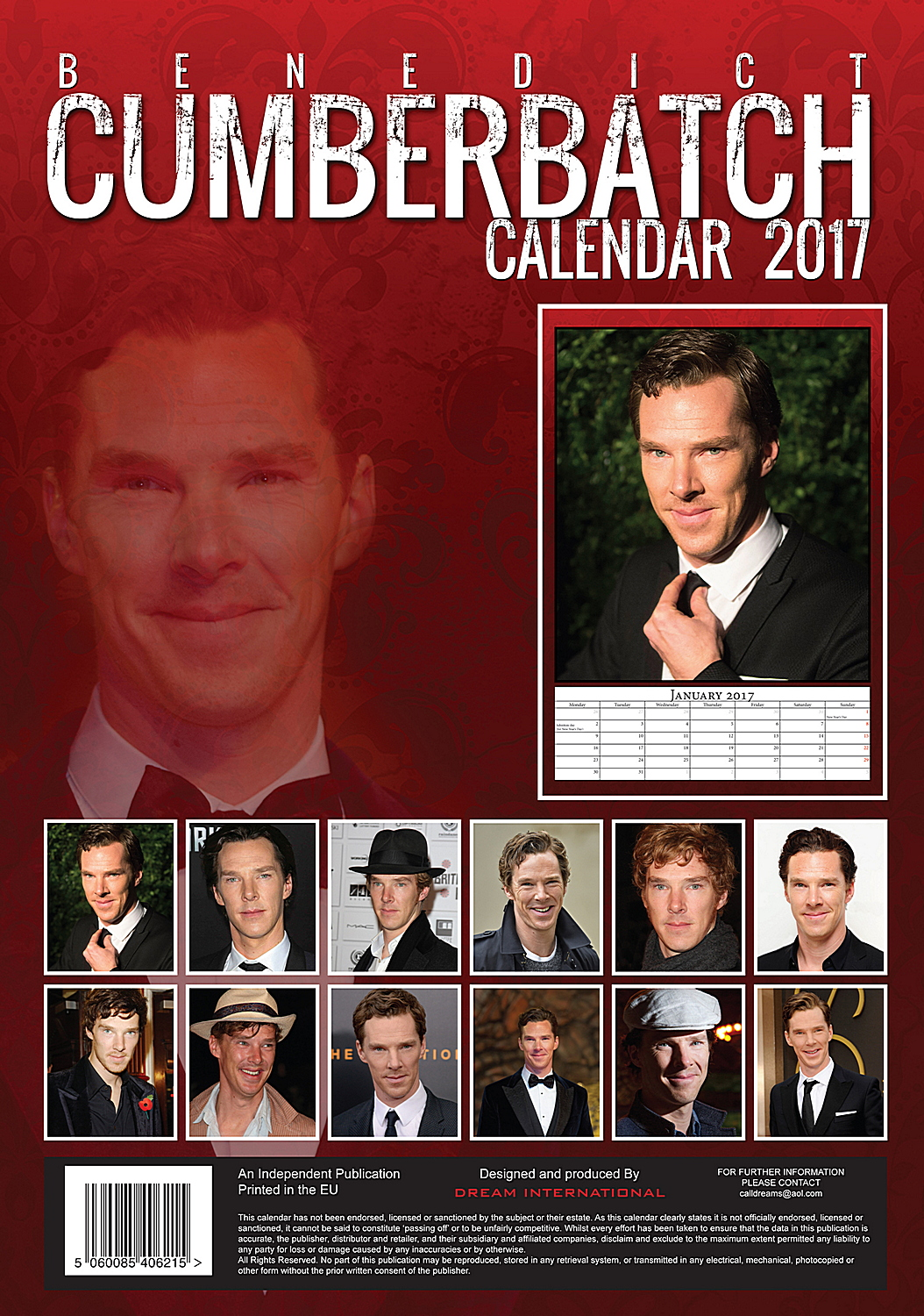 Benedict Cumberbatch Celebrity Wall Calendar 2017 back 5060085406215