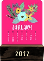 Modern Floral Wood Block Desk Calendar 2017