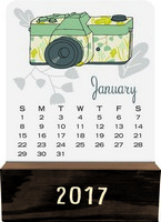 Retro Year Wood Block Desk Calendar 2017