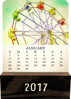 Vintage Photography Wood Block Desk Calendar 2017